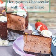 pinterest-pin-image-for-no-bake-chocolate-honeycomb-cheesecake-with-a-mirror-glaze