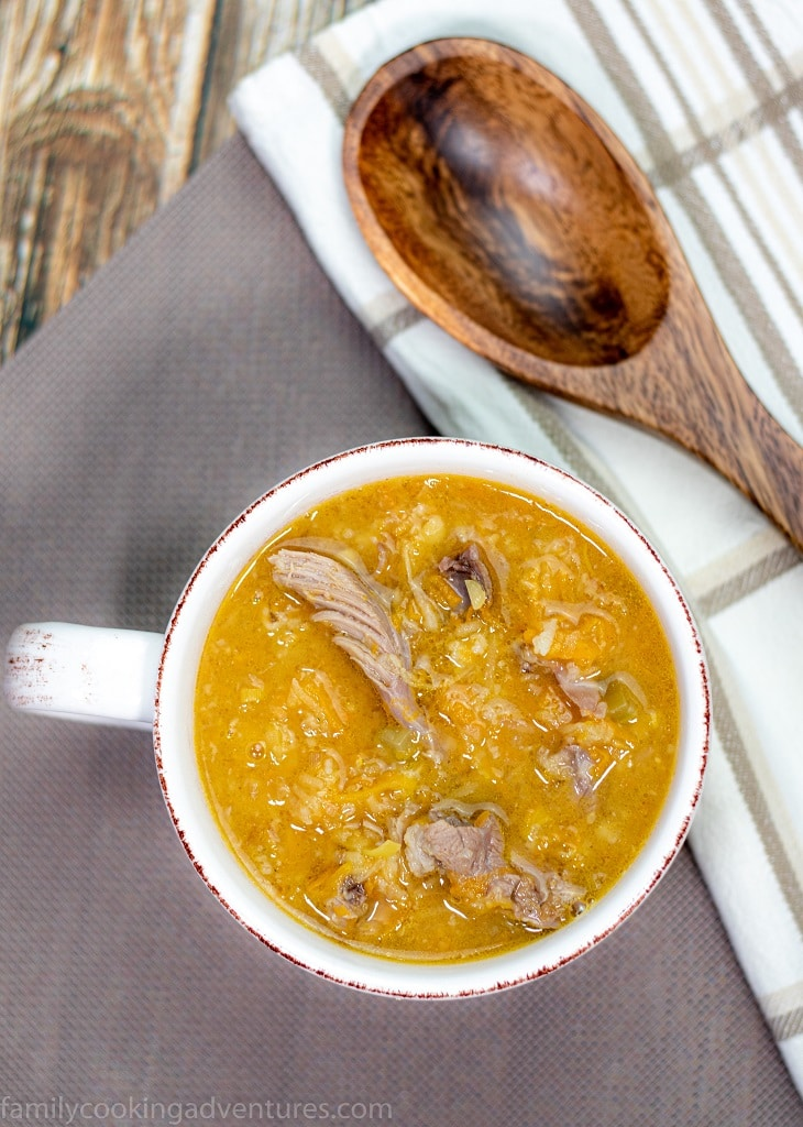 Slow cooker lamb shank and vegetable soup