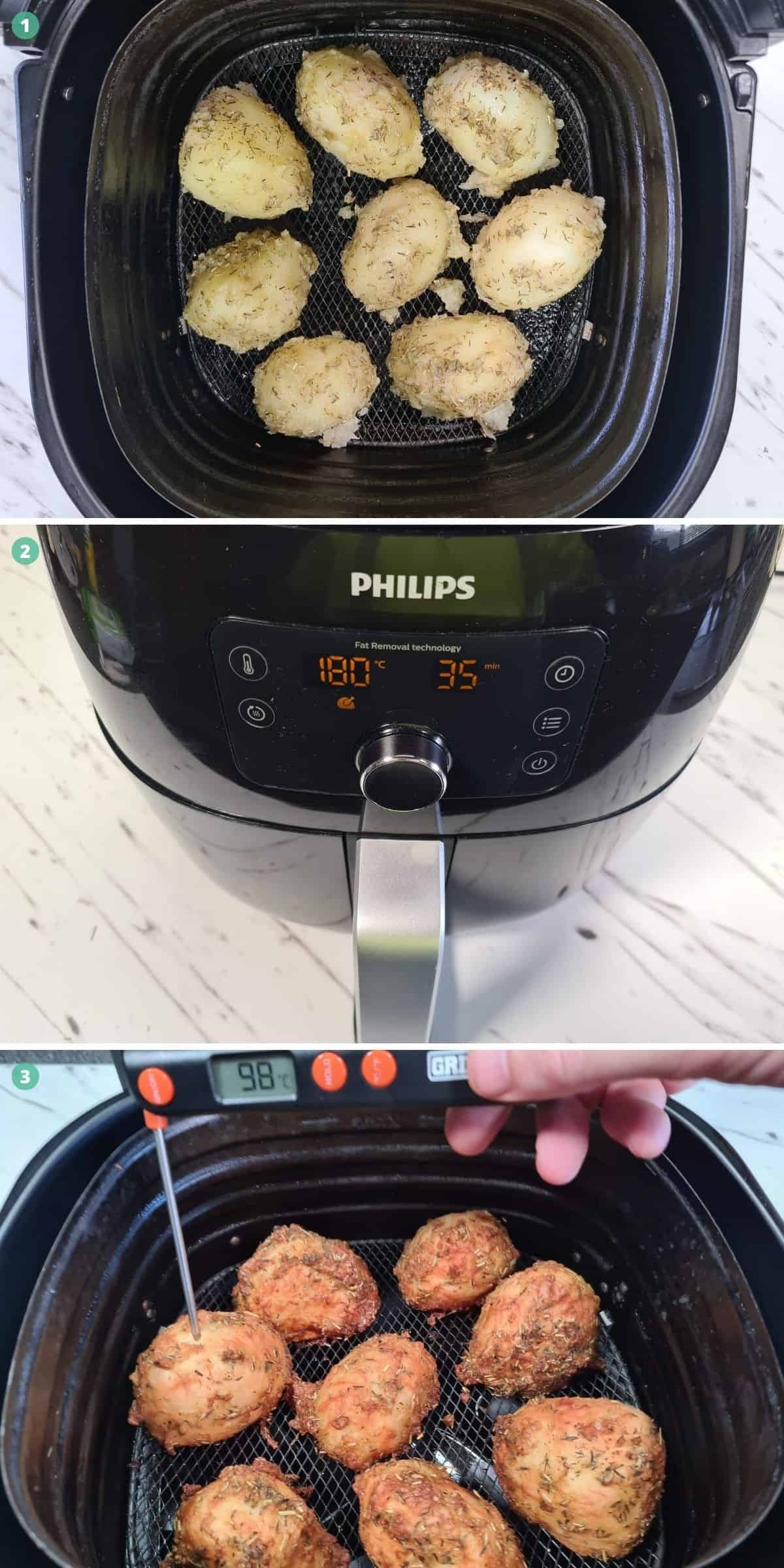 cooking the potatoes in the air fryer