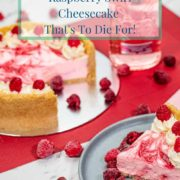 Pinterest pin for pink gin cheesecake