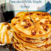 pinterest-pin-for-chocolate-chip-pancakes-with-maple-syrup